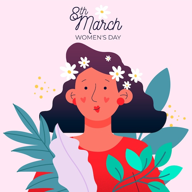 Floral womens day event theme Free Vector