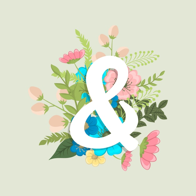 Floral word & (flowers, grass, leaves). floral letter. Free Vector