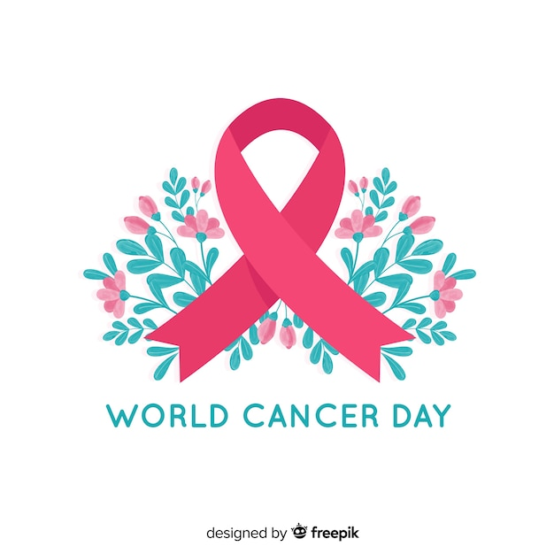 Floral world cancer day awareness ribbon on white background Free Vector