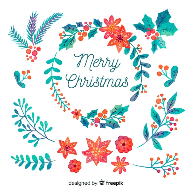 Floral wrath for christmas decoration in watercolour design Free Vector