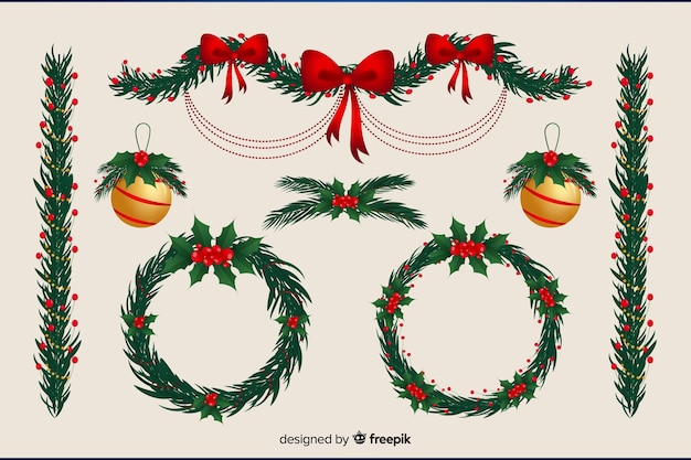 Floral wreath and christmas balls flat design Free Vector