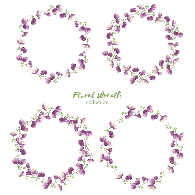 Floral wreath collection with small purple flower Premium Vector