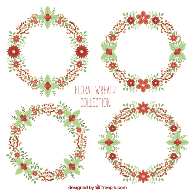 Floral wreath collection Free Vector