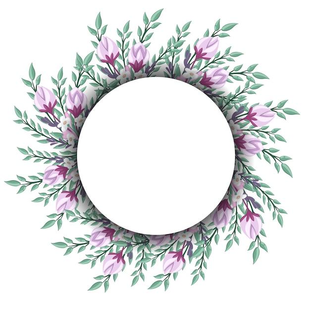 빈티지 라벨의 꽃 화환. 삽화. 프리미엄 벡터