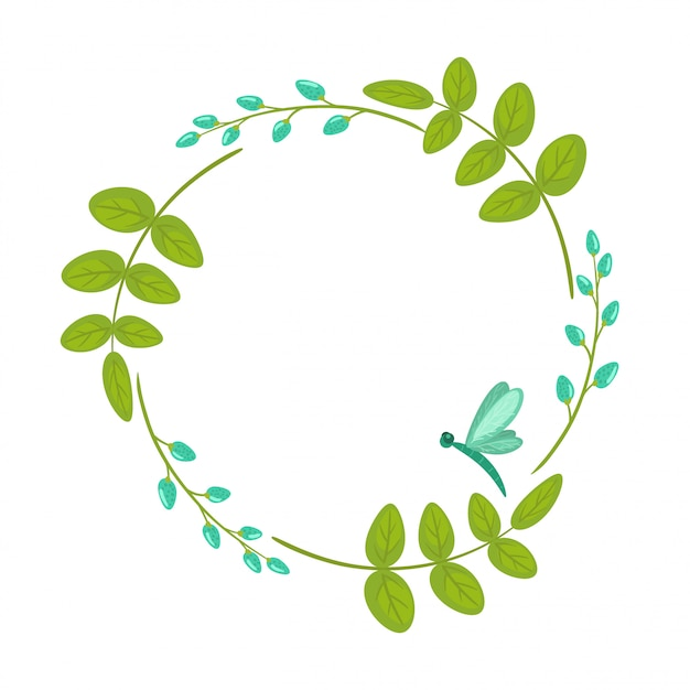 Floral wreath, frame with leaves and branches isolated Premium Vector