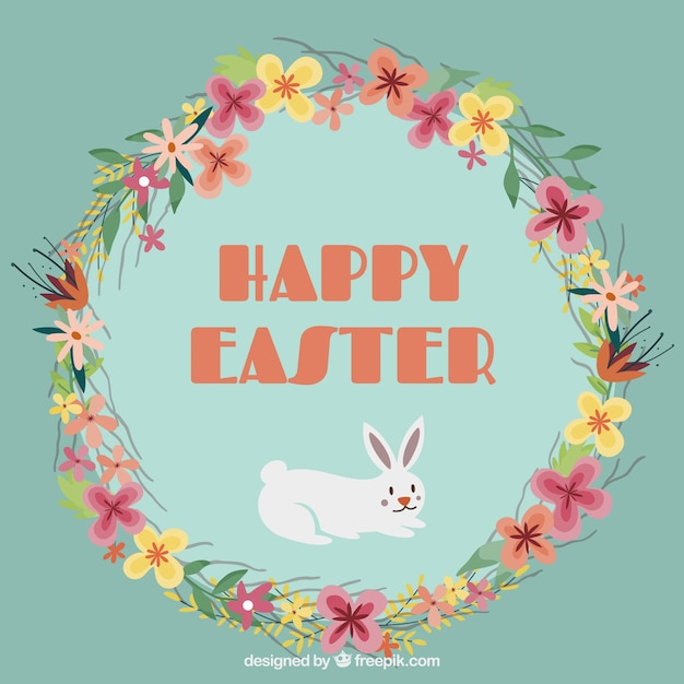 Floral Wreath Happy Easter Vector