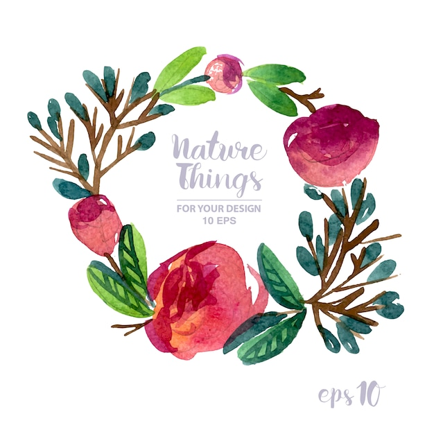 Floral wreath watercolor effect Free Vector