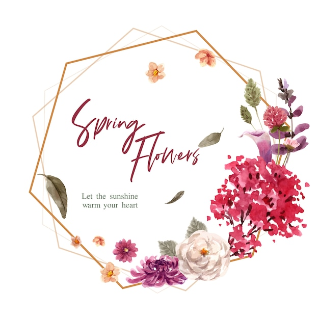 Floral wreath in watercolor style Free Vector