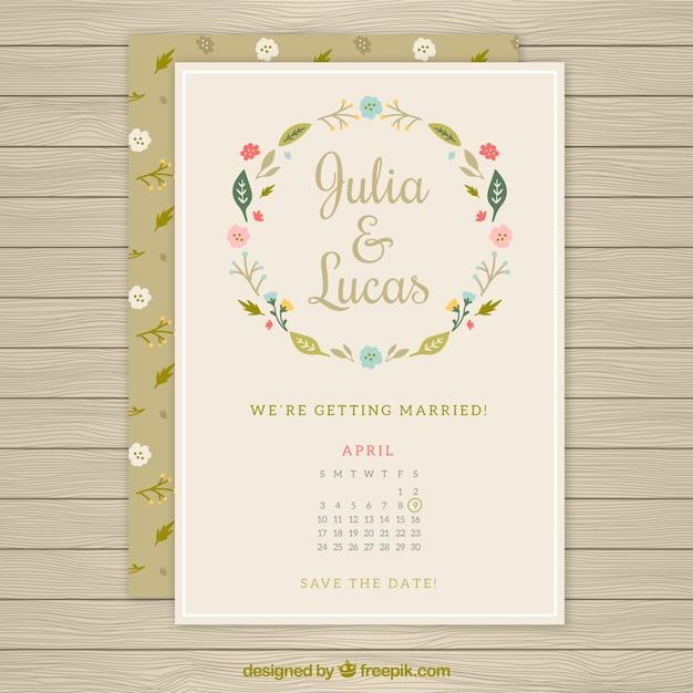 floral wreath wedding card with a calendar vector