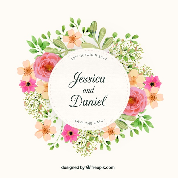 Floral Wreath Wedding Design Free Vector