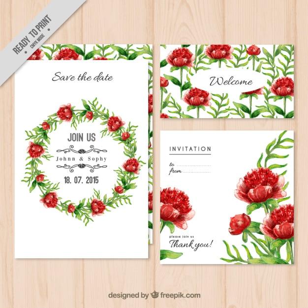 Floral wreath wedding invitation pack vector premium download floral wreath wedding invitation pack premium vector stopboris Images