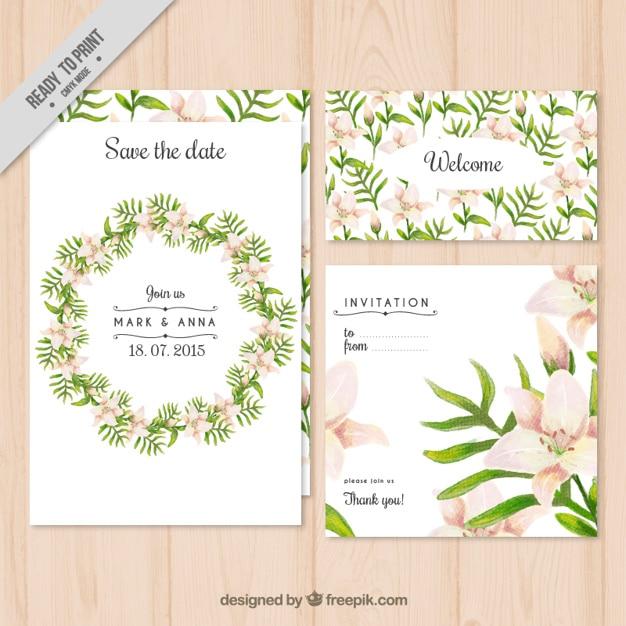 floral wreath wedding invitation vector free download