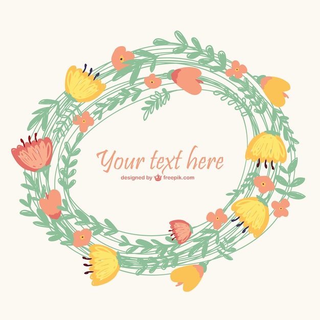 Floral wreath with flowers red and yellow\ flowers