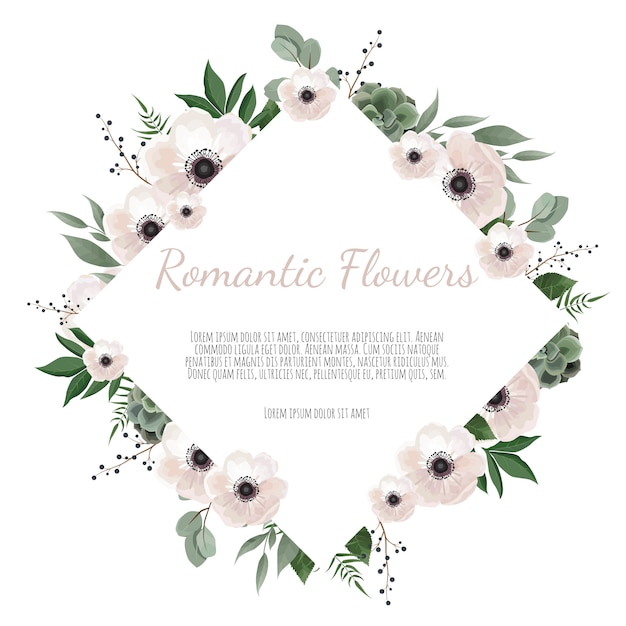 Floral wreath with green eucalyptus leaves, flower rose, anemone Premium Vector