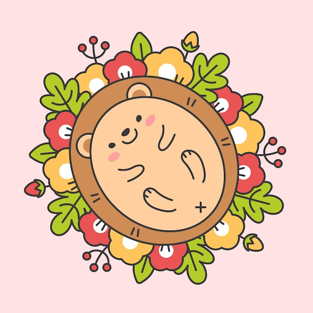 Floral wreathe with leaves and cute hedgehog charactor Premium Vector