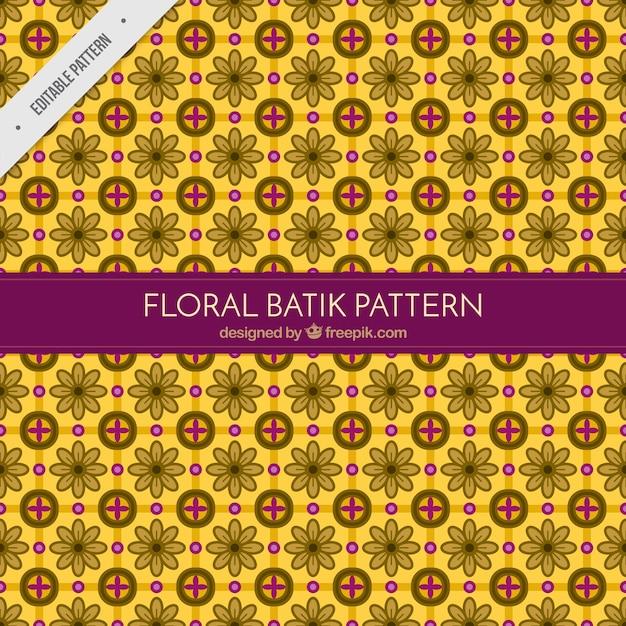 Floral Yellow Batik Pattern Vector