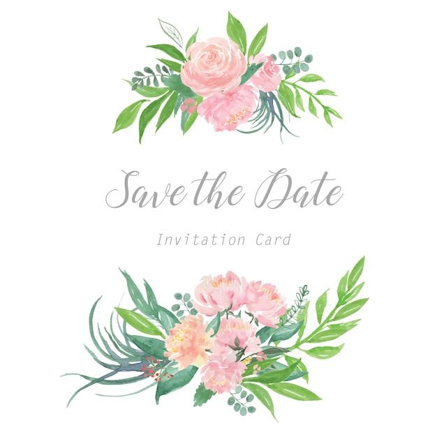 Florals wedding invitation card, Premium Vector