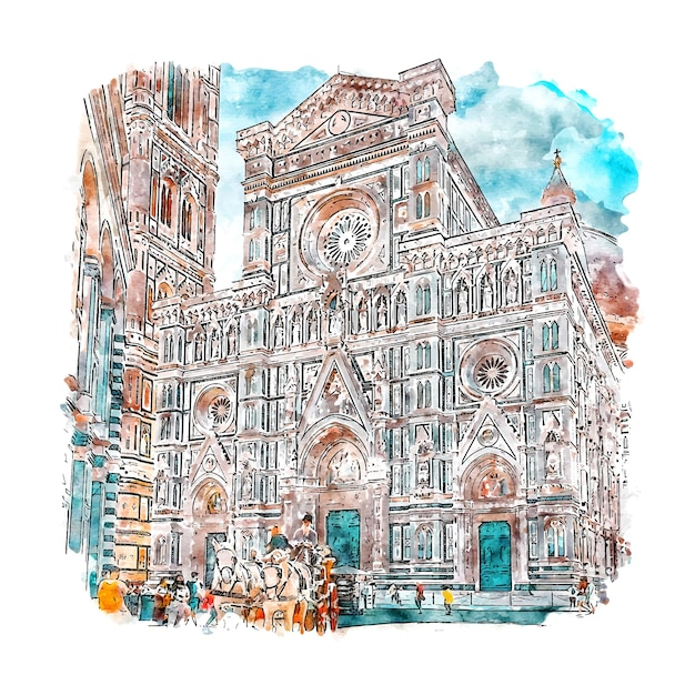 Florence italy watercolor sketch hand drawn illustration Premium Vector
