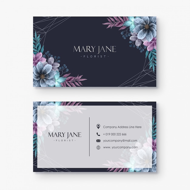 Florist business card template Premium Vector