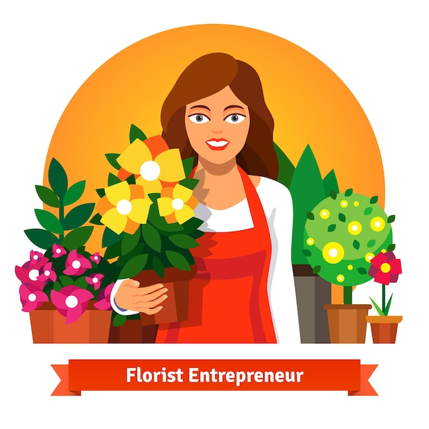 Florist business owner holding a pot of flowers Free Vector