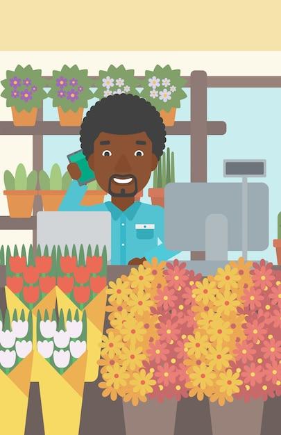 Florist at flower shop vector illustration. Premium Vector