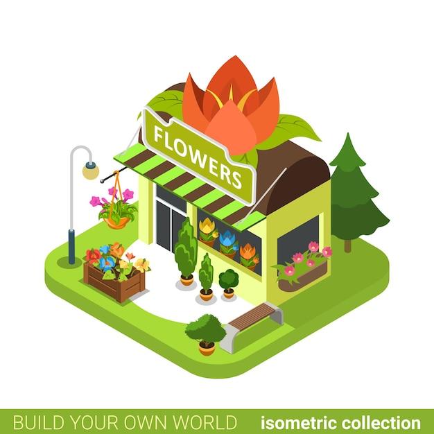 Florist shop flower shape building realty real estate concept. Premium Vector