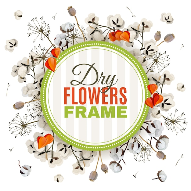 Floristic background with dry flowers frame Free Vector