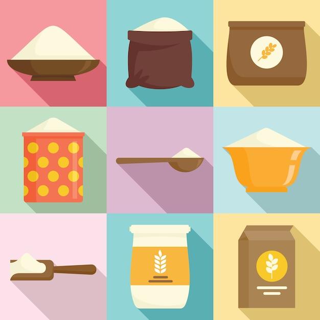 Flour icons set, flat style Premium Vector