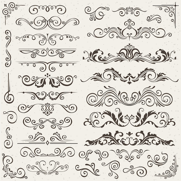 Flourish borders Premium Vector