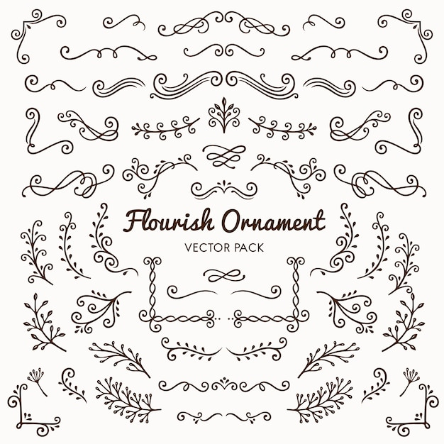 Flourish ornaments calligraphic design elements  Free Vector