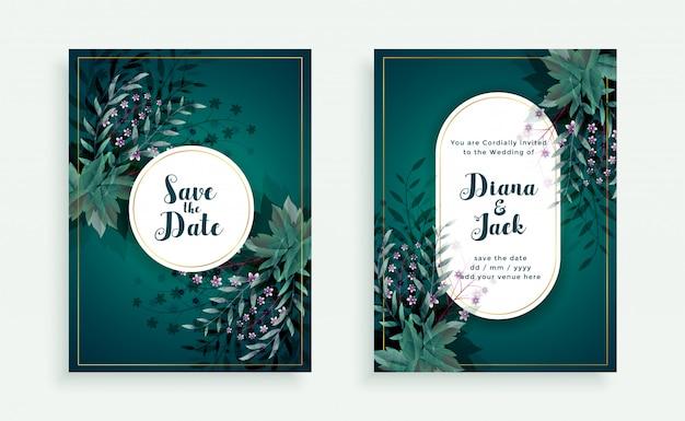 번영 날짜 결혼식 초대 카드 템플릿 저장 무료 벡터