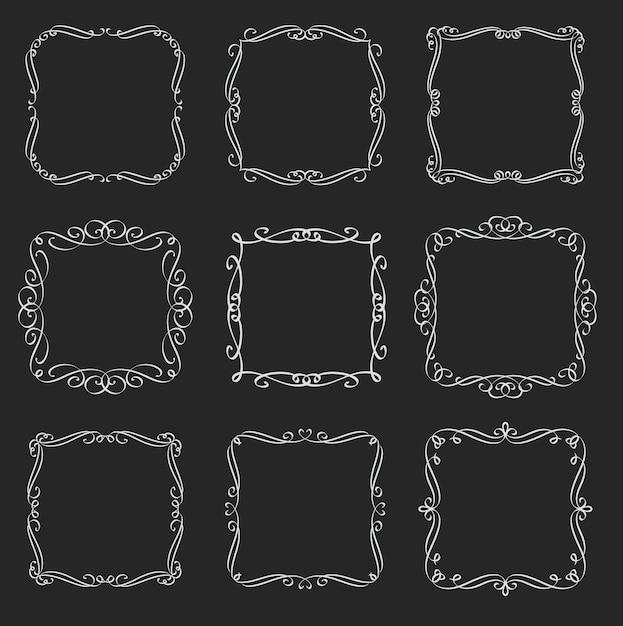 Flourishes square frames set. calligraphic  elements. monogram retro labels. white on black, illustration. Premium Vector