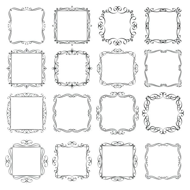 Flourishes vintage frames set. calligraphic  elements. monogram retro labels. Premium Vector