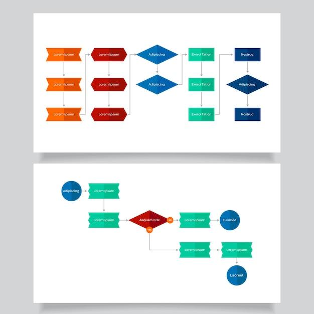 순서도 infographic 템플릿 무료 벡터