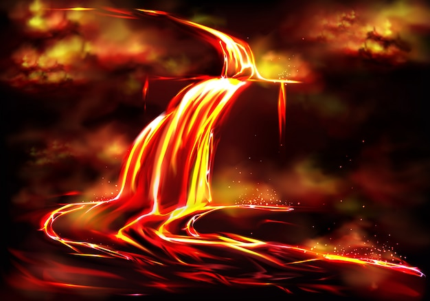 Flow of hot fluid lava, clouds of poisonous smoke and ash, toxic gases explosions Free Vector