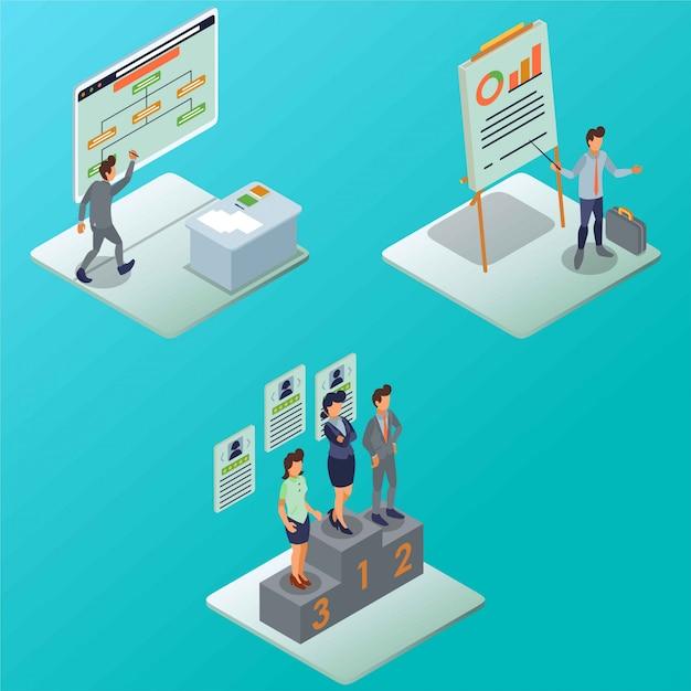 Flow of marketing staff business process isometric