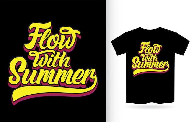 Поток с летним дизайном надписи для футболки Premium векторы