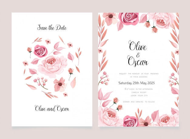 Flower background save the date card and invitation Premium Vector