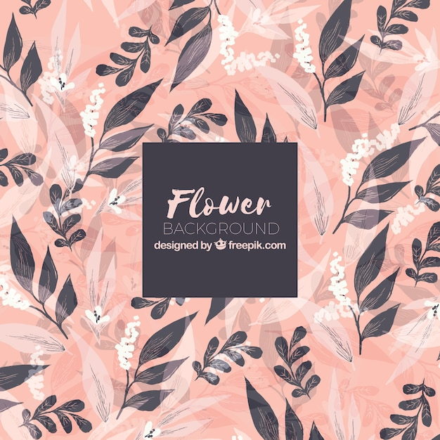 Flower background with leaves in hand drawn style Free Vector