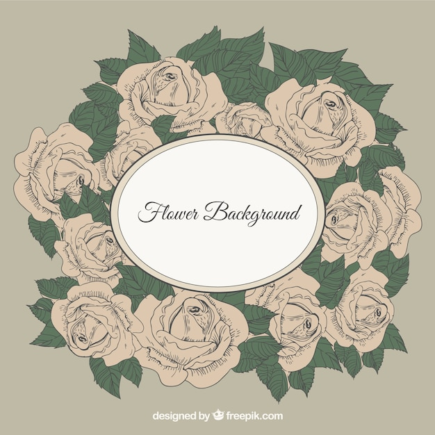 Flower background with retro frame