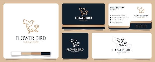 花の鳥、花、金色、バナー、名刺、ロゴのデザイン Premiumベクター
