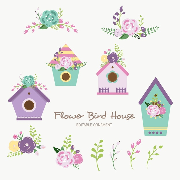 Flower bird house editable ornament Premium Vector