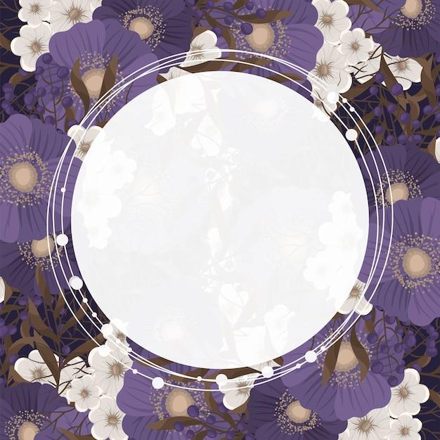 Flower border drawing - circle frame Free Vector