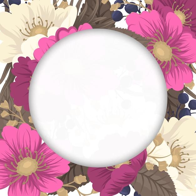 Flower border drawing - hot pink flower Free Vector