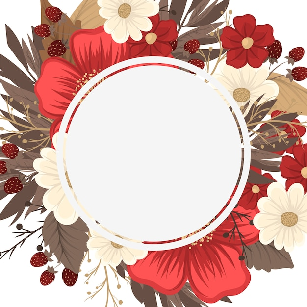 Flower border drawing - red frame Free Vector