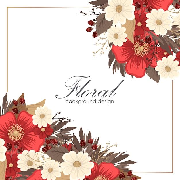 Flower border drawing - red frame Premium Vector