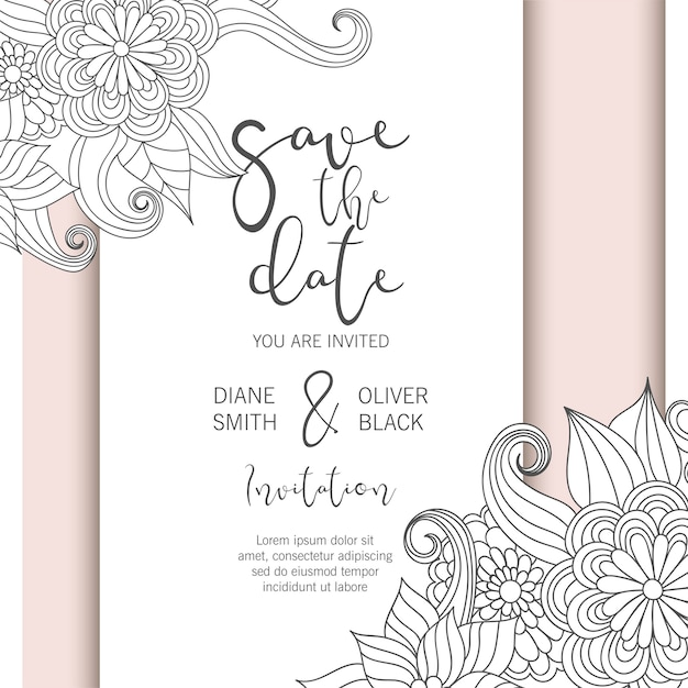 Flower border drawing white and black Premium Vector