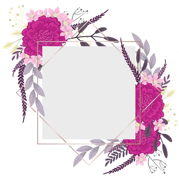 Flower border template  hot pink flowers Free Vector