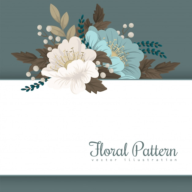 Flower border template  mint floral Free Vector