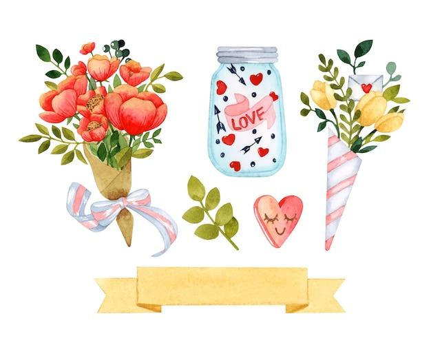 花の花束バレンタインデーの水彩セット孤立した要素 Premiumベクター